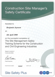 Construction Site Managers Safety Certificate