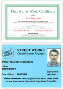 Street Works Certificate & First Aid at Work Certificate